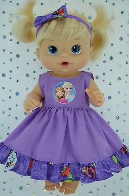 """Play n Wear Doll Clothes To Fit 13"""" Baby Alive PATTERN/LILAC DRESS~HEADBAND"""