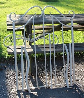 Antique Cast / Wrought Iron Tan Twin Size Bed Frame Headboard and Foot-board-EVC