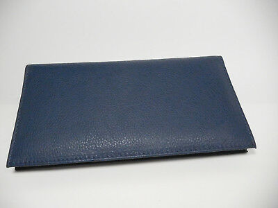 Private Label Navy Leather Padded Checkbook Cover w/ 2 Part Check Insert-#3218