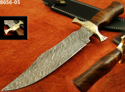 "14.1"" Massive Damascus Steel Knife Bowie/Hunting Knife Bull Horn 8656-05(5100)"