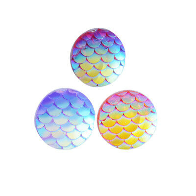100PCS/Lot Fish Scale Flat back Resin Cabochons DIY Jewelry Accessories 3 Color