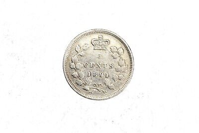 1891 Canada Five Cents 5C Victoria VF Very Fine Circulated Silver Coin KM#2 2D16
