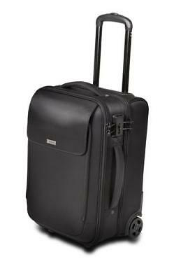 """17"""" Black Secure Padded Device Compartments Overnight Roller Laptop Luggage Bag"""