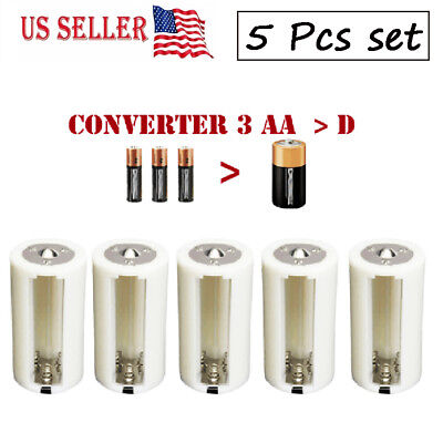 5 x 1.5V AA Battery Adapters Converter Holder  Plastic Parallel 3 AA To 1 D Size