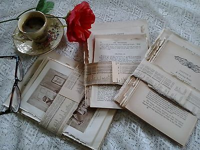Vintage antique paper pages from old books for art craft collage cards decoupage
