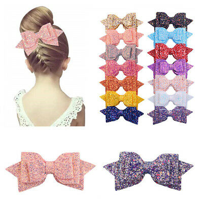 5Pcs Hair Bows Band Boutique Alligator Clip Fashion Sequin For Girl Baby Kids