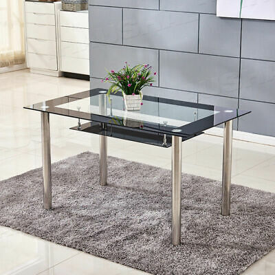 2 Tier Black&Clear Tempered Glass Dining Table Chrome Legs Dining Room Kitchen