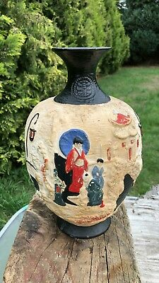 Pair Of Rare Antique Cyples Old Pottery Embosa Ware Vase *