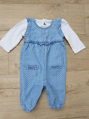 George baby Girl spotty polka dot Dungaree Romper Outfit and Top Size 0-3 Months