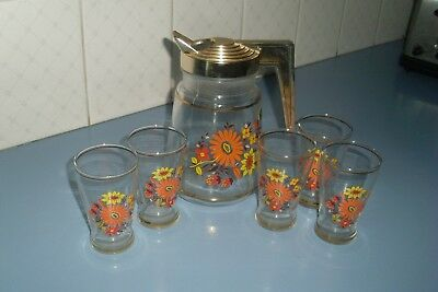 Vintage Retro 60s Cordial/Water Floral Glass Drinking Set -Jug & 5 Glasses