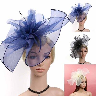 Large Women Lady Bridal Fascinator Feather Flower Hair Clip Hat Accessories Hot