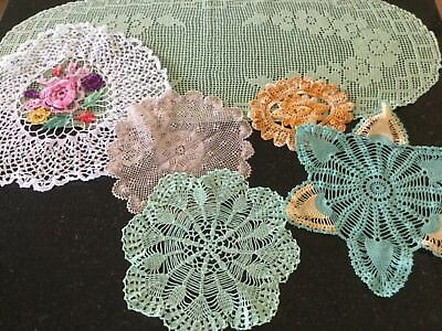 Assorted Hand Crocheted Coloured Vintage Doillies (6)