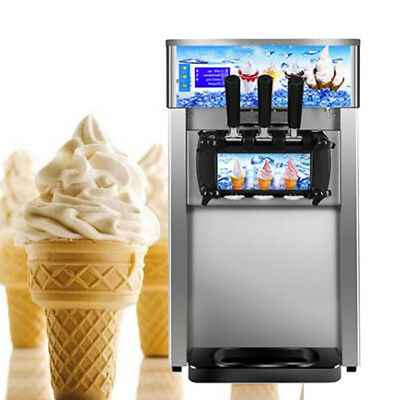 Commercial 110V Soft Serve Ice Cream Machine Frozen Yogurt Making Maker 3 Flavor