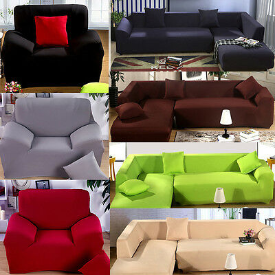 1/2/3/4/5/6 Seater L Shape Stretch Elastic Fabric Sofa Cover Couch Slipcover