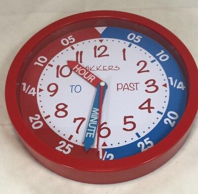 Tikkers Silent Sweep Seconds Precision Movement Time Teacher Kids Wall Clock RED