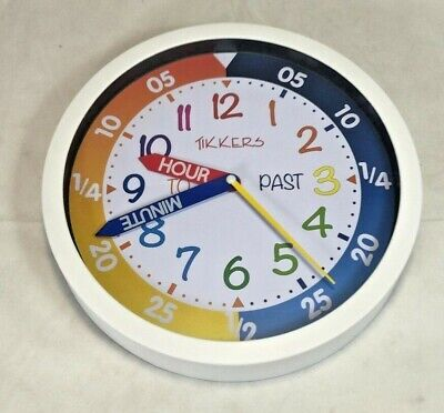 Tikkers Silent Sweep Seconds Precision Movement Time Teacher Kids Wall Clock WH