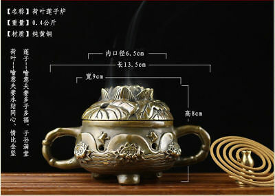 Chinese old antique brass statue hand made lotus double ears Incense Burners A2