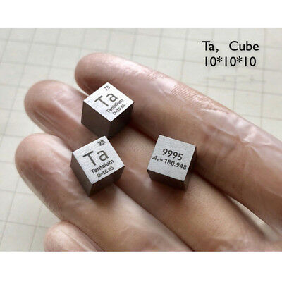 High Purity Tantalum Ta Metal 99.9% 10mm Cube Carved Element Periodic Table L