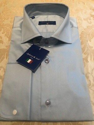 Mens Plain Pale Blue Double Cuff Italian Slim Fit Shirt see other double cuffs