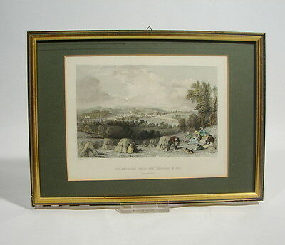 Coldstream from the English side  Berwickshire Stahlstich 1837 alt koloriert