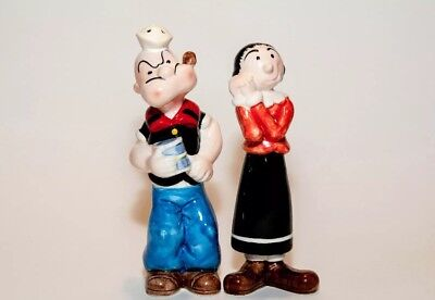 Popeye The Sailor Man & Olive Salt & Pepper Shakers Rare Collectable Vintage