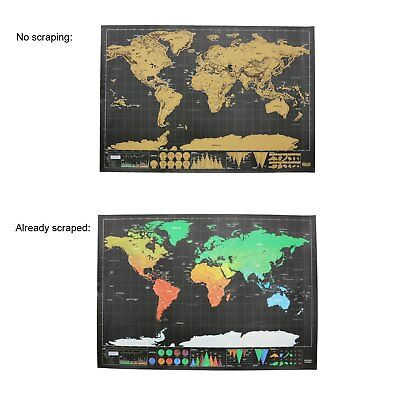 Scratch Map Of The World Detailed Black Background Mini Paper Aluminum Laminate