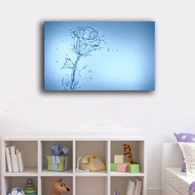 Framed Canvas Prints Stretched Abstract Water Flower Wall Art Home Decor Gift