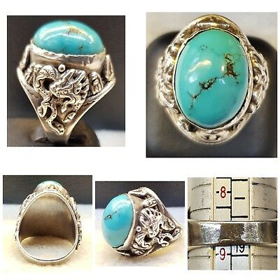 Persian Nishapur Lovely Turquoise With Wonderful Old Silver Unique Ring # 76 N T