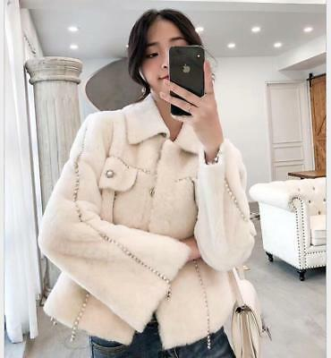 Chic Womens Faux Shearling Beading Lapel Collar Thick Warm Coat Jacket Outwear