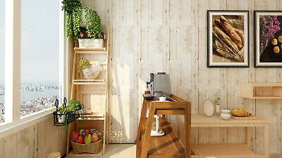 18Distressed Faux Wood Plank Peel & Stick Wallpaper Off White Pale Brown Papaer