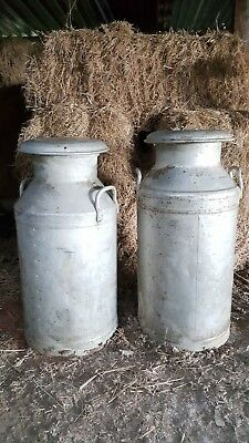 Vintage Aluminium Milk Churns x2