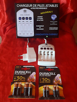 Lot Chargeur de pile jetables/rechargeable + piles alkalines AA / AAA
