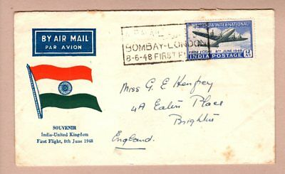 India 1948 Illustrated First Flight Cover - Bombay to London
