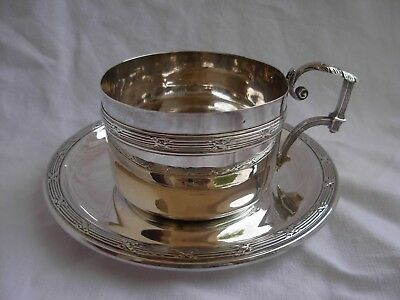 ANTIQUE FRENCH STERLING SILVER TEA OR CHOCOLAT CUP & SAUCER,LATE 19th CENTURY.