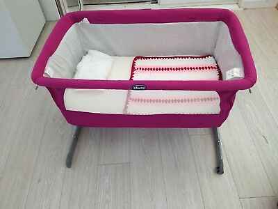 Next2me chicco baby fuchsia pink co sleeping cot bedside next to me