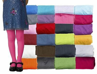 Girls Tights Plain Semi Opaque 40 Den Microfibre Age 1-12 Years Various Colours