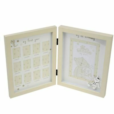 """Button Corner Metal Icon """"My First Year"""" Newborn Baby Picture Photo Frame Gift"""