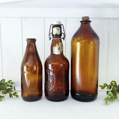 SET Lot 3 Vintage Amber Glass Bottles Old Brown Rustic Farmhouse FALL Collection