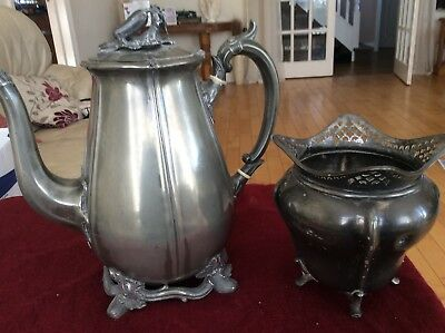 Antique Victorian Shaw & Fisher Sheffield Pewter Teapot / Coffee Pot