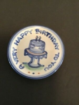 "M.a. Hadley Small Plate /coaster ""A Very Happy Birthday To You """