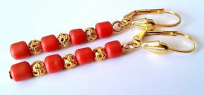 Dangle Earrings Made Of Old Antique Victorian Celluloid Salmon Coral Beads.