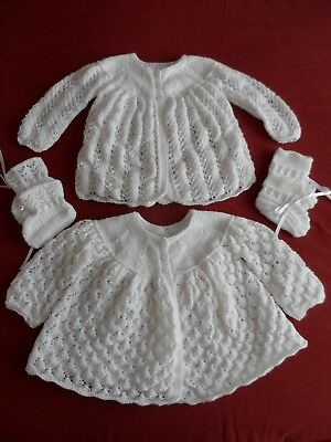 Two Hand Knitted Baby Matinee Coats  & Two Pairs Of Bootees  ( Bb ).