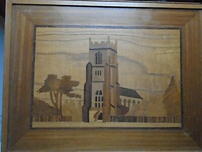 VINTAGE MARQUETRY PICTURE  of English Church