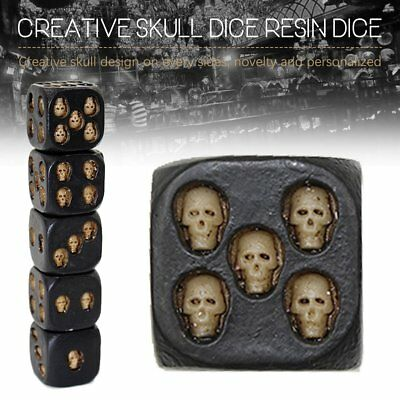 5Pcs Black Skull Dice Strange Skeleton Six Sided Resin Dice Party SET Fashion A0