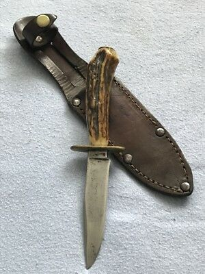 Vintage Sheffield Sheath Knife, Antler, Dagger, Bushcraft, Hunting, Fishing
