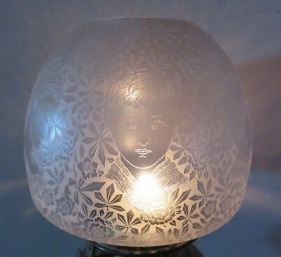 "Superb Antique Acid Etched (faces) Bee Hive style Oil Lamp Shade. 4"" Fitter dia."