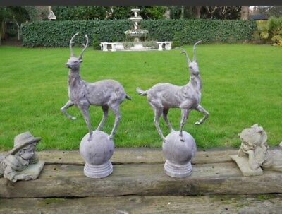 Pair of Large Cast Iron Stag Finials Garden Statue Stag on Ball Finial Entrance
