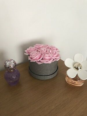Pink Roses In A Small Box Artificial Flowers Gift For Her Birthday Gift Hat Box