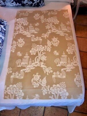 "Scalamandre ""mei Ling"" Chinoiserie Oriental Fabric Remnant Cream On Beige"