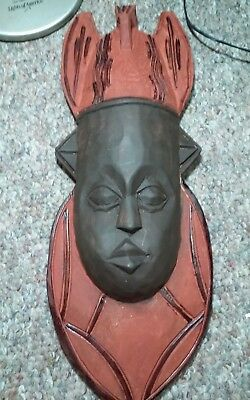 Outstanding older carved wooden wall sculpture,mask from Africa bout 17.5 x 6.5